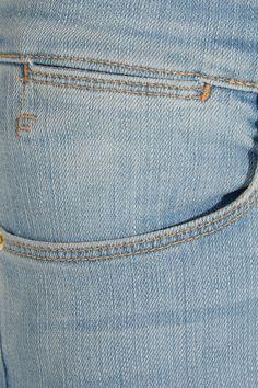 Light-blue stretch-denim Button and concealed zip fastening at front 93% cotton, 5% polyester, 2% elastane Machine wash Designer wash: Port Jefferson
