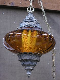 Amber glass hanging swag lamp