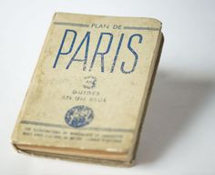 Antique tourist guide Paris  pocket book with maps  Plan by 4Rooms
