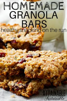 Learning how to make granola bars at home will save you lots of cash at the supermarket AND reduce the amount of waste your snack generates. These are the first bars we made when we learned how to make granola bars, and with a few alterations, it's been with us for years! #breakfast #recipe #snack via @Attainable Sustainable