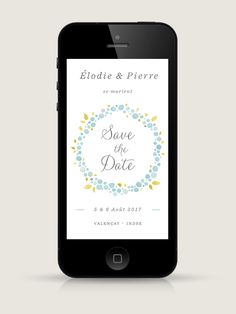 Save the Date électronique Nectar Bleu pour smartphone, à envoyer par email ou SMS