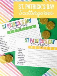 Our St. Patrick's Day Scattergories Printable Game is a great way to show your family how smart you are. You will be laughing and having a blast in no time as everyone becomes creative with words. #stpatricksday #Stpatricksprintables #printablesforkids Diy And Crafts Sewing, Diy Crafts For Kids, Letter Form, Colorful Candy, Having A Blast, Craft Party, Halloween Kids, Party Printables, St Patricks Day