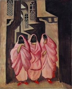 Jāzeps GROSVALDS | Latvian | Latvia 1891 – Paris, France 1920 | Post-Impressionism, Modernism.  Three Women on the Street of Baghdad, 1919
