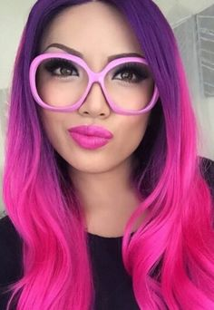 Purple pink ombre dyed hair color, could not be brave enough for this I don't think, but love it!