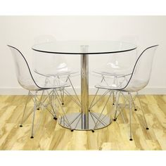 Anything Goes 5 Piece Dining Set With Molded Plastic Chairs (Clear) By Inmod Part 91