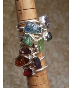 Fair trade rough gemstone rings. So many colors!