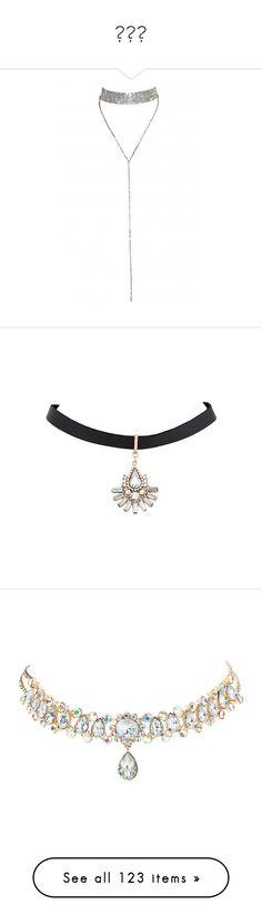 """""""목걸이"""" by myonmyonee ❤ liked on Polyvore featuring jewelry, necklaces, accessories, choker, fake diamond choker necklace, choker jewellery, faux diamond necklace, simulated diamond jewelry, choker necklaces and acc"""
