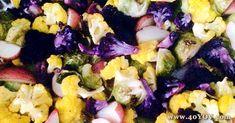 Rainbow Roasted Veggies - Click to visit 40-Year-Old Vegan's blog Vegan Blogs, Vegan Recipes, Vegan Butter Substitute, Vegan Chili, Saturated Fat, Baked Potato, Rainbow, Vegetables, Rainbows