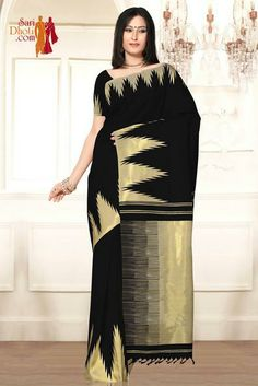 Black color saree with Zari temples. Black color Pallu and blouse piece visit: http://www.saridhoti.com