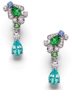 CHAUMET Diamond and sapphire earrings from Chaumet's new 'Bee My Love' collection.