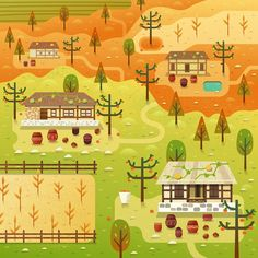 'Chuseok' Korean village scene for Two Dots games. Two Dots Game, Vector Game, Autumn Illustration, Character Design, Scene, Games, Holiday Decor, Artwork, Inspiration