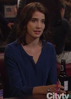 Robin's cobalt blue blouse on How I Met Your Mother.  Outfit details: http://wornontv.net/8821/