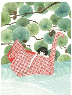 Seng Soun Ratanavanh whimsical japanese watercolour and origami inspired watercolour painting art illustration print , summer days are endless Art And Illustration, Illustrations And Posters, Watercolour Illustration, Portrait Illustration, Fashion Illustrations, Origami, Art Japonais, Japan Design, Art Graphique