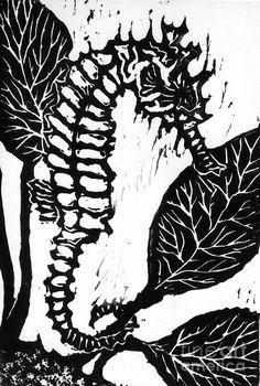 Lino Mixed Media - Seahorse Block Print by Ellen Miffitt Linocut Prints, Art Prints, Linoleum Block Printing, Architecture Tattoo, Mixing Prints, Block Prints, Wood Engraving, Woodblock Print, Art Education