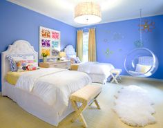 periwinkle bedroom love the hanging chair minus the flowers