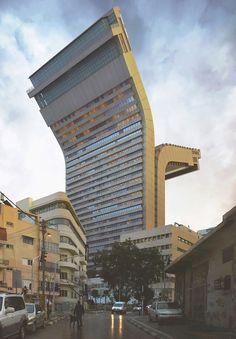 Gefotografeerd en 'enigszins' digitaal gemanipuleerd door de Spaanse fotograaf Victor Enrich. Met 3D rendering buigt hij de architectonische werkelijkheid letterlijk om in uiterst realistisch ogende maar onmogelijke beelden. De bewerkte gebouwen staan in München en Tel Aviv.