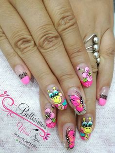 Uñas Wow Nails, Cute Nails, Spring Nails, Summer Nails, Watermelon Nails, Finger Nail Art, Butterfly Nail, Kawaii Nail Art, Flower Nails