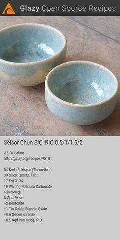 Selsor Chun SiC Glaze Recipe from Glazy Glazing Techniques, Ceramic Techniques, Pottery Techniques, Glazes For Pottery, Ceramic Pottery, Pottery Art, Pottery Wheel, Pottery Studio, Earthenware