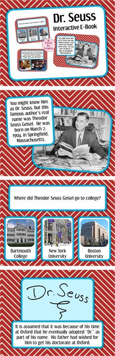 Happy Birthday Dr. Seuss! Dr. Seuss Interactive E-Book for Smartboard! from A Turn to Learn