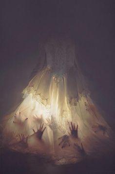 Haunted Bride using flashlights & hand prints (Construction paper? Faux appendages?)