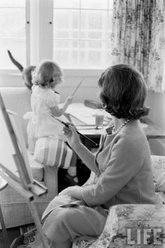 AT HOME WITH JACKIE AND CAROLINE KENNEDY, 1960