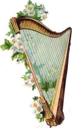 Oblaten Glanzbild scrap die cut chromo Musik Instrument 13cm Harfe harp