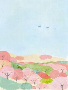 吉野山 Colorful Drawings, Art Painting, Illustrations Posters, Graphic Illustration, Landscape Illustration, Cherry Blossom Art, Pastel Poster, Art Inspiration, Art Wallpaper