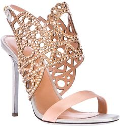 www.sergiorossi.com, Sergio Rossi Laser Cut Strap High Heel Sandal in Pink - Lyst, bride, bridal, wedding, wedding shoes, bridal shoes, haute couture, luxury shoes