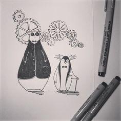 #inktober #06 by tjasa malalan #bear #bearillustration #007 #steampunk #penguin #gentlemen