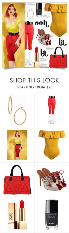 """Ooh La La Retro Fabulous"" by atelier-briella ❤ liked on Polyvore featuring Bony Levy, Pinup Couture, Sans Souci, Malone Souliers, Yves Saint Laurent, Chanel, retro, pinup, mules and pinupgirl"