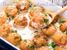 This is a wonderful recipe for parties and get togethers of all kinds and they always disappear so fast! You can use them as an appetizer or a meal served over noodles, rice or mashed potatoes. I hope that y'all enjoy these yummy meat balls. French Onion Smothered Meatballs Prep 30 m Cook 1 h Ready In 1 h 30 m Ingredients Meatballs: 2 pounds lean ground beef 1/3 cup finely chopped green bell pepper 1/3 cup finely chopped onion 2 eggs 1 1/2 cups Italian-style dry bread crumbs 1/2 teaspoon…