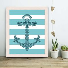 Turquoise Anchor Print - starfish anchor - Anchor wall decor turquoise Bedroom wall art turquoise decor Living room art turquoise Home decor