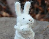Mom and baby bunny  - needle felted ornament animal, felting dreams by johana molina