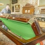 Burgess 7ft rollover Antique Snooker Dining Table. Playing surface. | Browns Antiques Billiards and Interiors. Antique snooker and billiards tables. Antique Furniture.