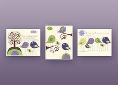 Baby girl Room Decor Nursery Art birds..Violet by DesignByMaya, $50.00