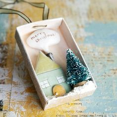 tiny DIY christmas in a matchbox bottle crafts diy shadow box ornament Noel Christmas, Christmas And New Year, All Things Christmas, Winter Christmas, Handmade Christmas, Vintage Christmas, Christmas Ornaments, Matchbox Crafts, Christmas Inspiration