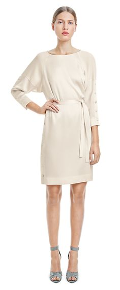 Crepe Cream Button Dress - Dresses - Woman - Filippa K summer 2015 #springtype #lentetype