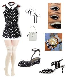 """""""B/W shoe contest: Black n white beauty. b/w polka dot rimper,with white knee high socks,b/w shoes,and o accessories"""" by im-karla-with-a-k on Polyvore featuring Betsey Johnson, Nicholas Kirkwood and Alice + Olivia"""