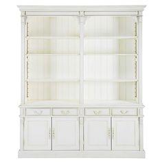 Bibliothèque 4 portes 4 tiroirs blanche patinée