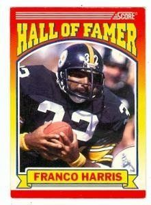 Franco Harris football card (Pittsburgh Steelers) 1990 Score #595 by Hall of Fame Memorabilia. $31.95. Franco Harris football card (Pittsburgh Steelers) 1990 Score #595. Signed items come fully certified with Certificate of Authenticity and tamper-evident hologram.
