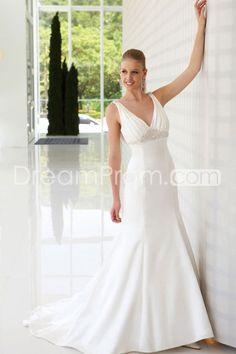 Elegant Trumpet/Mermaid V-neck Floor-Length Chapel Wedding Dresses