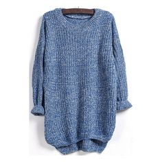SheIn(sheinside) Blue Long Sleeve Dipped Hem Loose Sweater ($16) ❤ liked on Polyvore featuring tops, sweaters, sheinside, jumpers, blue, pullover sweater, loose sweater, knit pullover, long sleeve knit tops and long sleeve tops