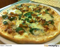 Pizza se smetanou, špenátem a kuřecím masem Pitta, Quiche, Vegetable Pizza, Hamburger, Toast, Food And Drink, Meals, Dinner, Cooking