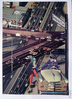 Denis Kollasch: Hitchhike to Berlin. Papiercollage #Autobahn #BAB #Fotocollage #Verkehr #traffic #Mobilität #Stadt #Straßen #streets #Berlin #deniskollasch #startyourart www.startyourart.de