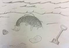 Vandaag heb ik de schep afgetekend, een schelp getekend en een plasje water getekend. Ook heb ik aan de zee gewerkt. Nu ga ik beginnen om het strand te maken.