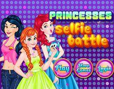 Princesses Selfie Battle : Junte-se a princesas Jasmine, Ariel e Merida em batalha de selfie. Escolha as melhores roupas e acessórios para criar looks fabulosos para as princesas.  Divirta-se! Selfies, Princess Games, Princesa Jasmine, Merida, Rapunzel, Game Design, Ariel, Princesses, New Work