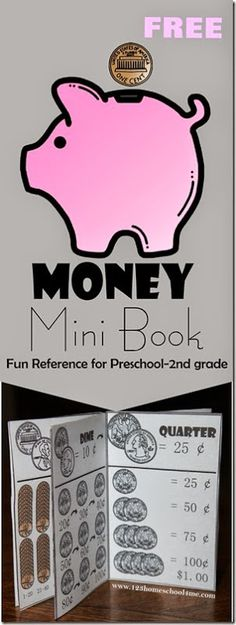 FREE Money Mini Book - a free printble to help kids in Preschool, Kindergarten, 1st grade, and 2nd grade learn about money