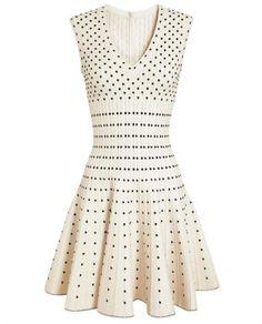 Stretch-Knit Notched Dress