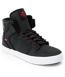 Supra Shoes  Supra Vaider Black & Red Raptor TUF Shoe