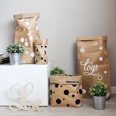Paper toy bags storage.